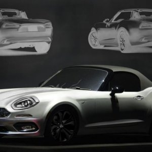 2016 Fiat 124 Spider front and rear three quarter rendering